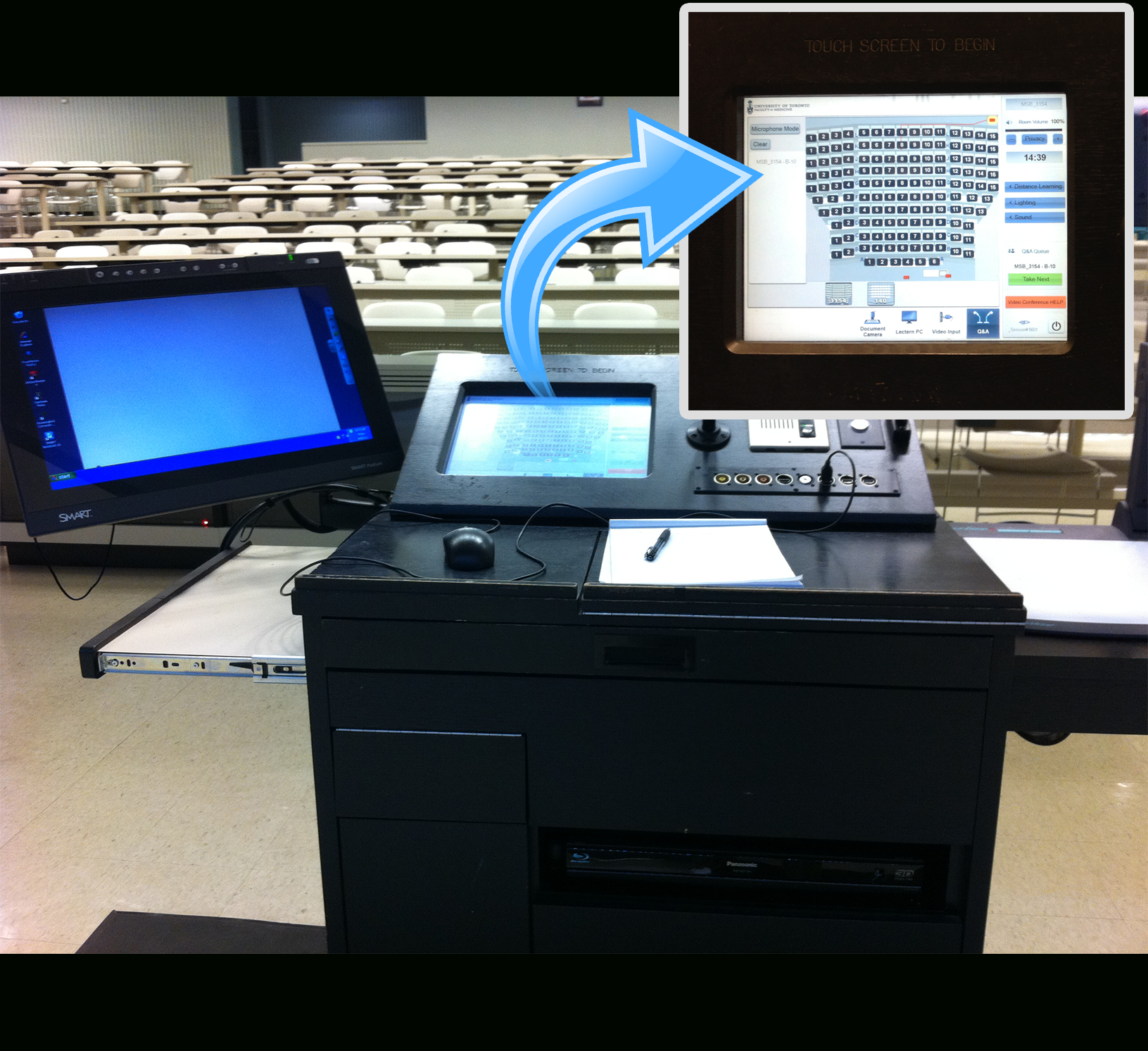 Lectern with touch panel callout
