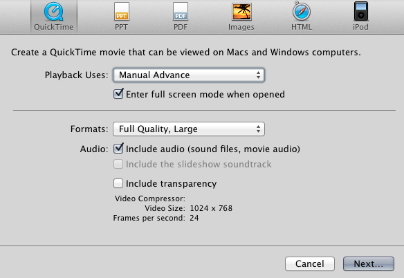 Convert Powerpoint to Quicktime box